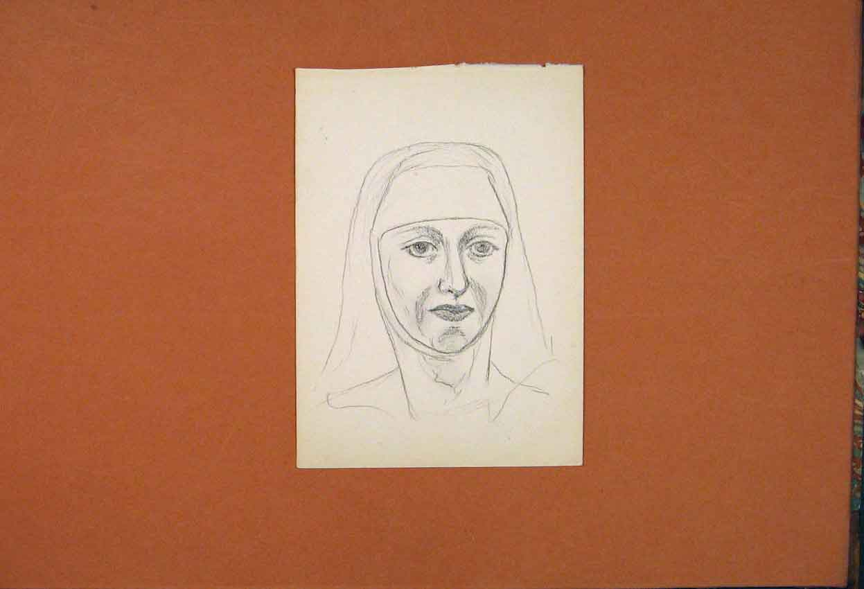 Print Nun Sketch Facial Drawing Fine Art Picture 216841 Old Original