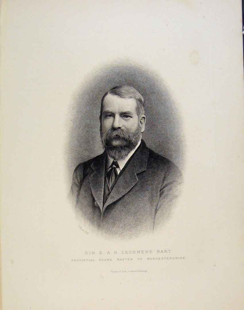 Print Sir Lechmere Bart Portrait Master Worcestershire 056851 Old Original
