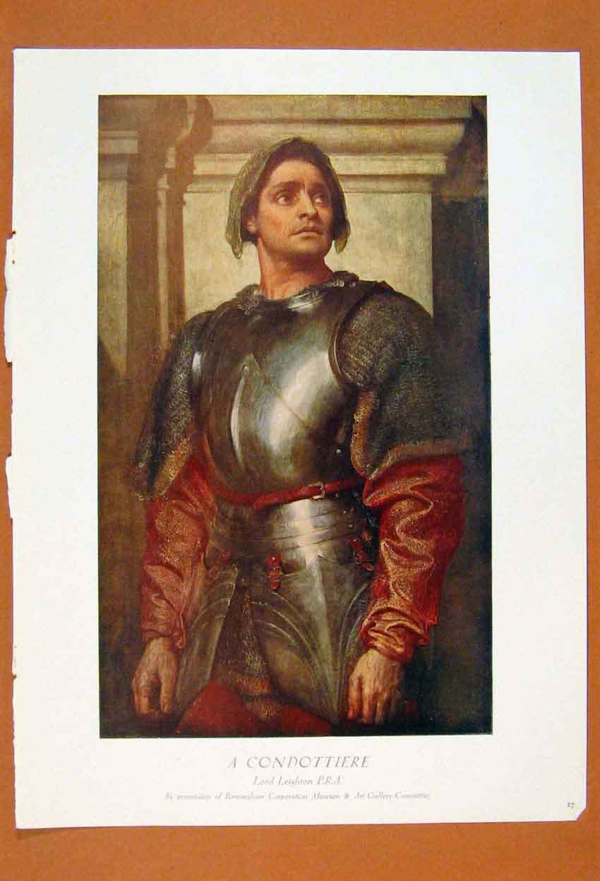 Print British Art Lord Leighton Condottiere Portrait 386861 Old Original
