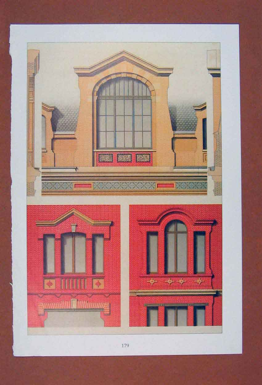 Print Combinations Projecting Brick Work Windows Bull Eyes 056881 Old Original