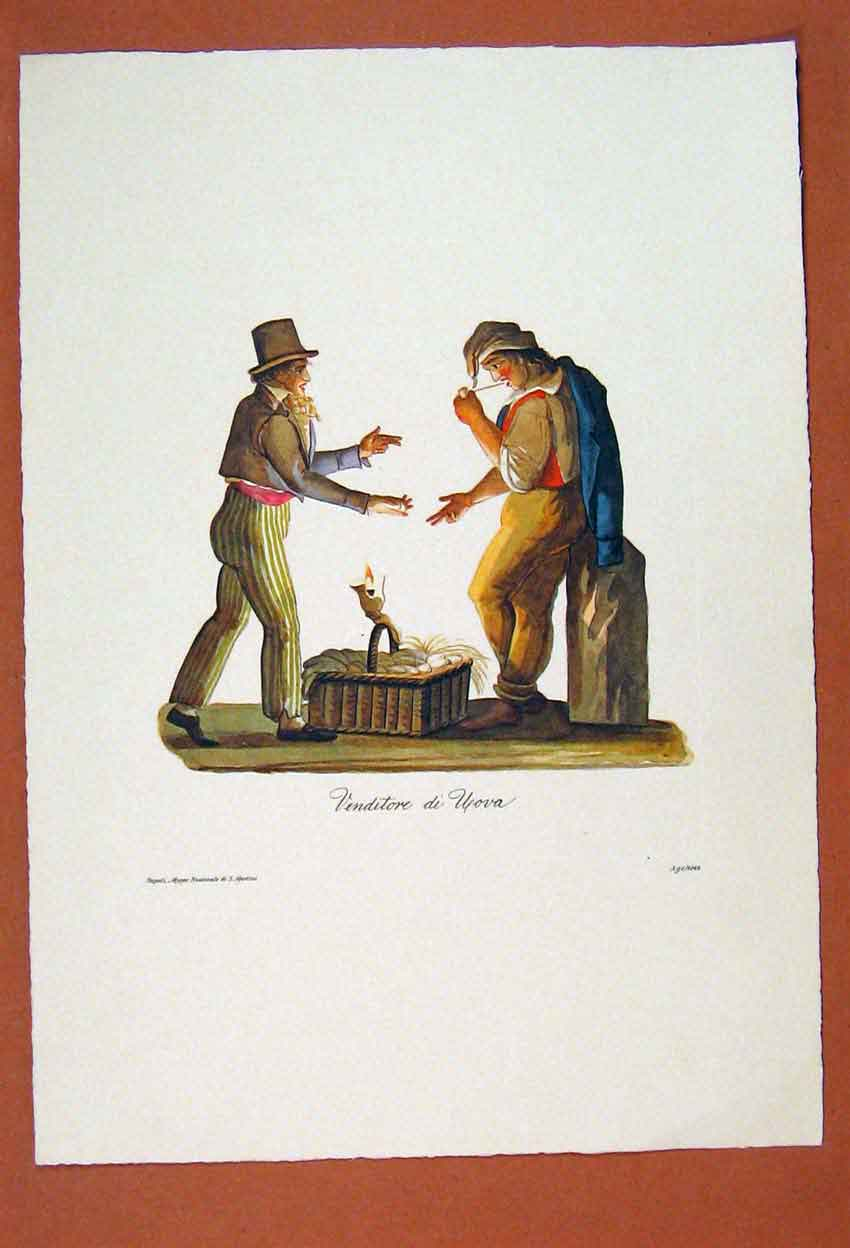 Print Venditore Di Upova Men Candlestick Eggs Road 356881 Old Original