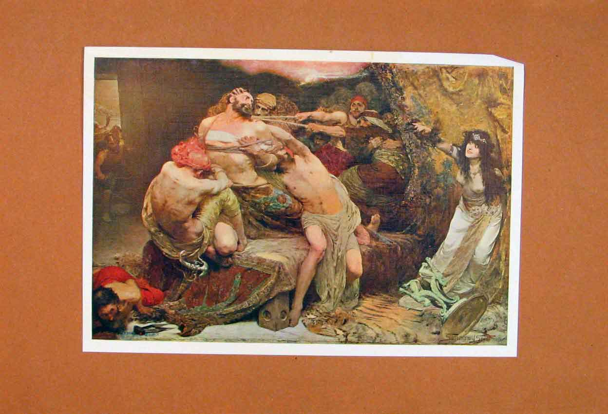 Print Fine Art Mystical Painting Battle Fight 186881 Old Original