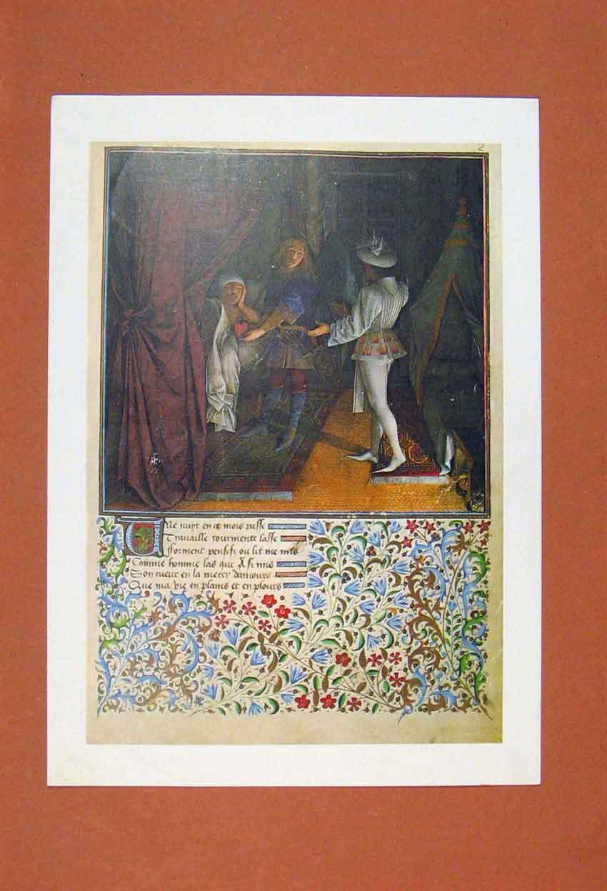 Print Heart Offer Love Dating Play Scene Poetry Artisit 336881 Old Original