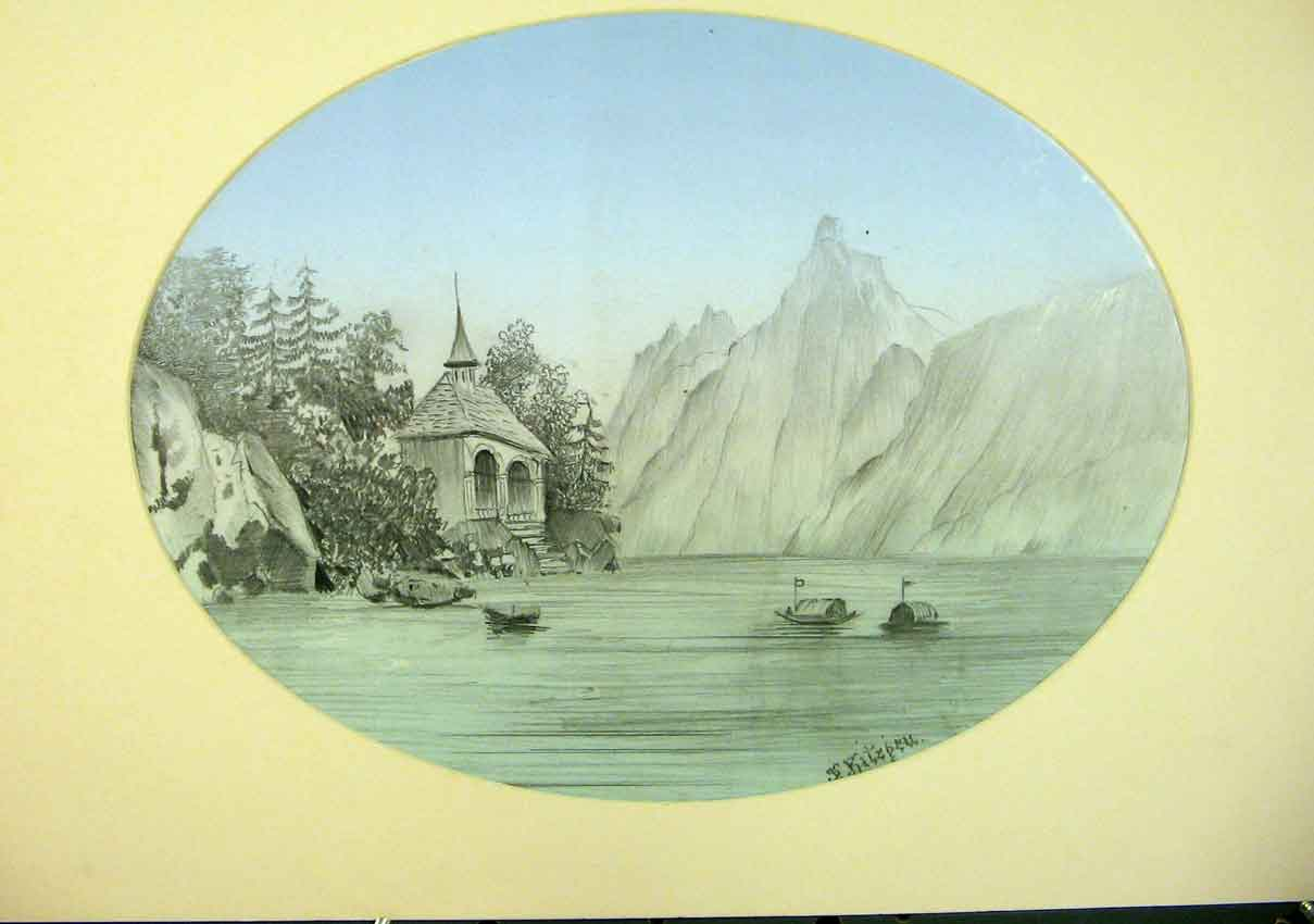 Print Color Fine Art Sketch River Lake Mountain Chappel 246911 Old Original