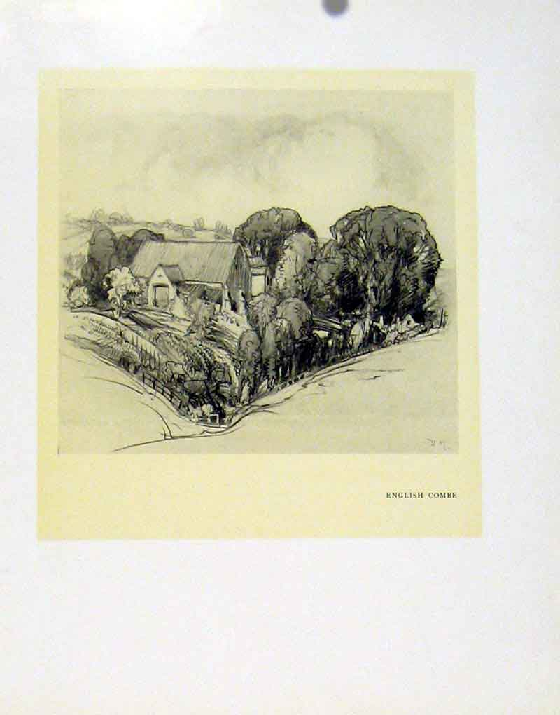 Print English Combe Fine Art Somerset C1927 Village 027091 Old Original