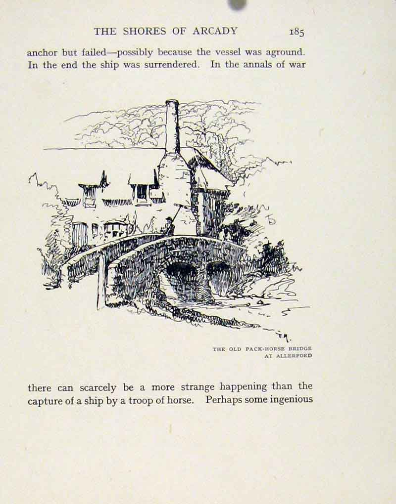 Print Pack Horse Bridge Allerford Somerset 057091 Old Original