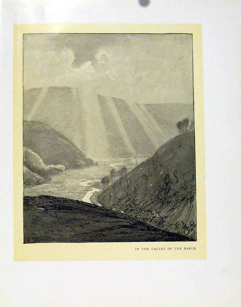 Print Valley Barle Sun Ray Mountain View Fine Art 187091 Old Original