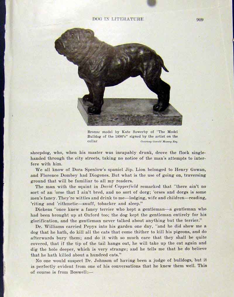 Print Bronze Model Bulldog Fine Art C1940 Hound Pet 127101 Old Original