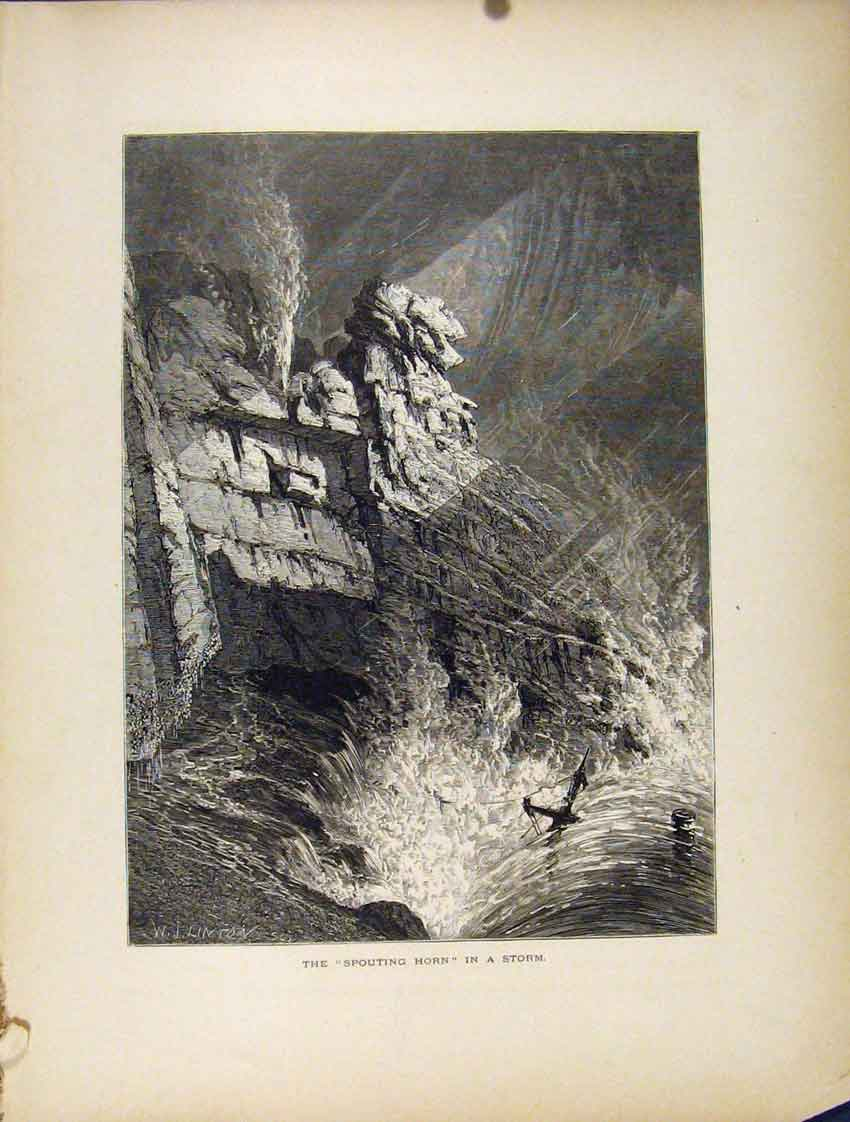 Print Spouting Horn Storm Boat River Sea Mountain Cliff 067111 Old Original