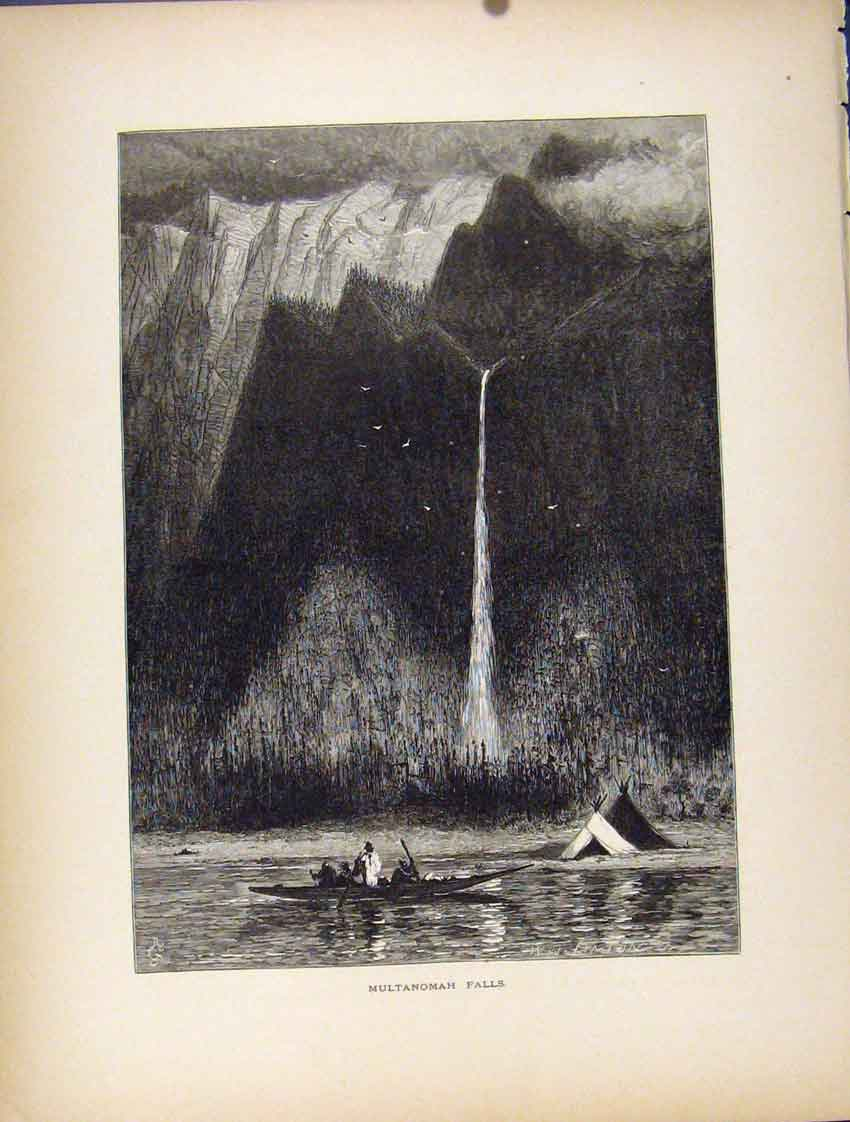 Print Multanomah Falls Water Lake River Fine 187111 Old Original