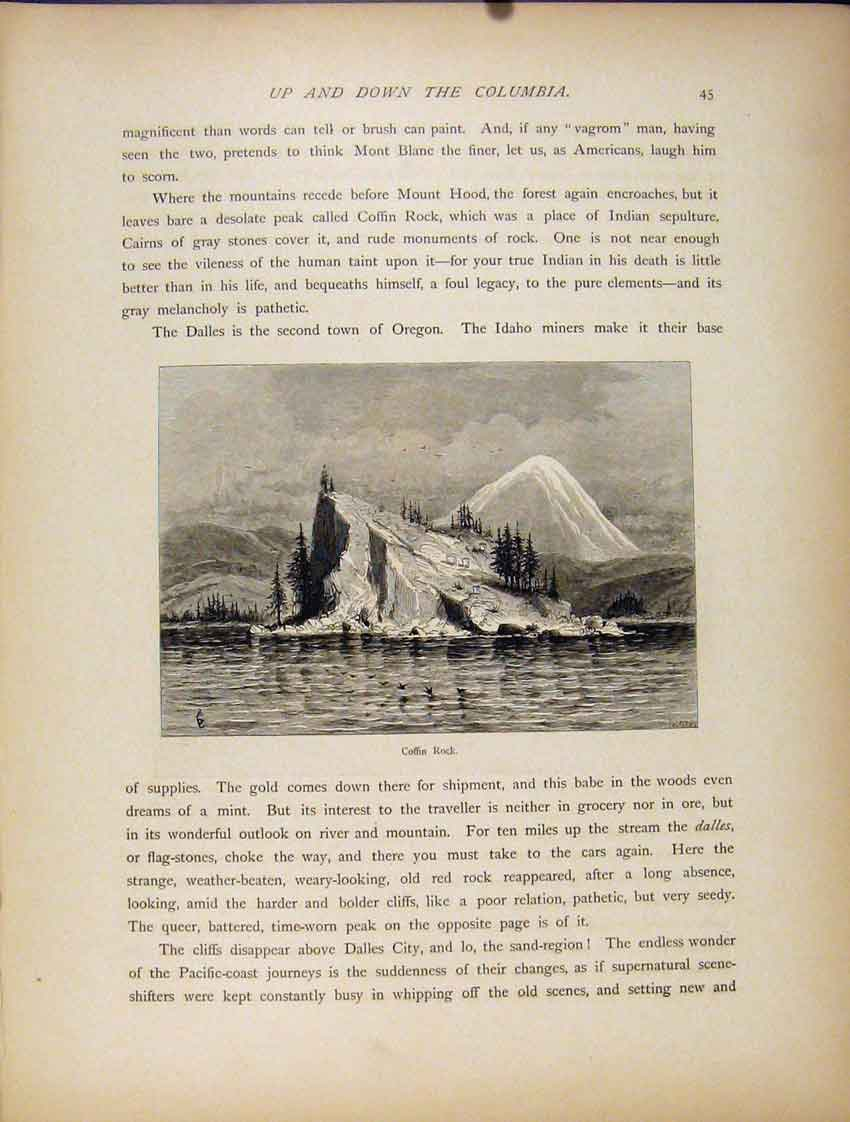 Print Fine Art Coffin Rock Seaside Cliff 1872 227111 Old Original