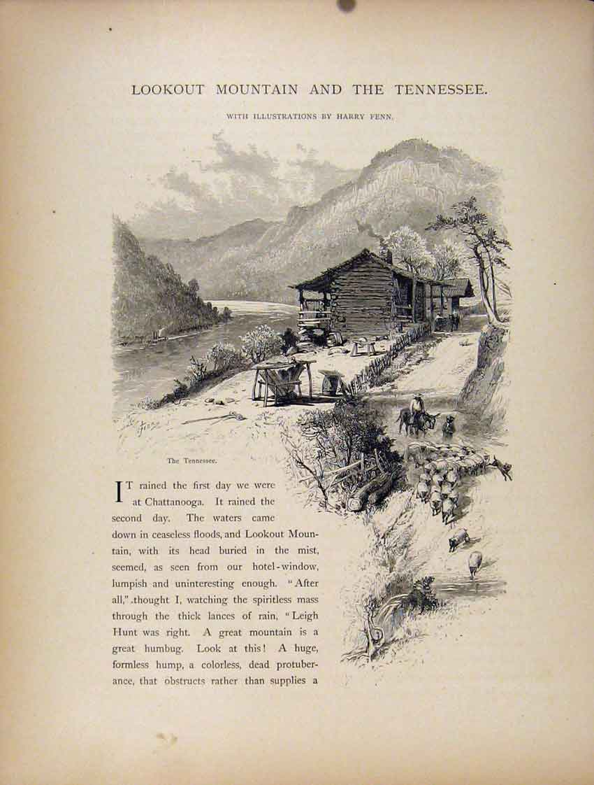 Print Lookou Mountain Tennessee Wood Engraving 267111 Old Original
