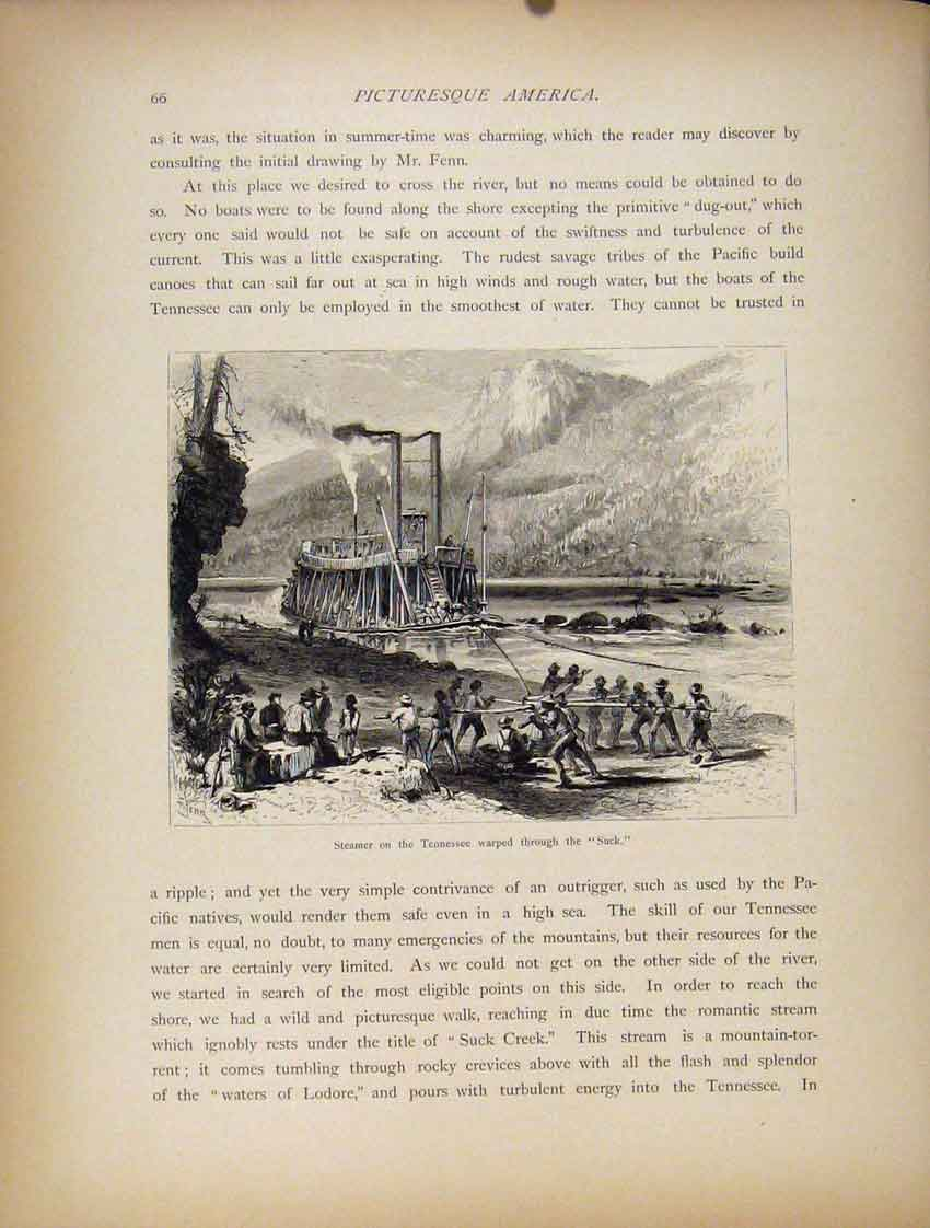 Print Steamer Tennessee C1872 Wood Engraved Art 327111 Old Original