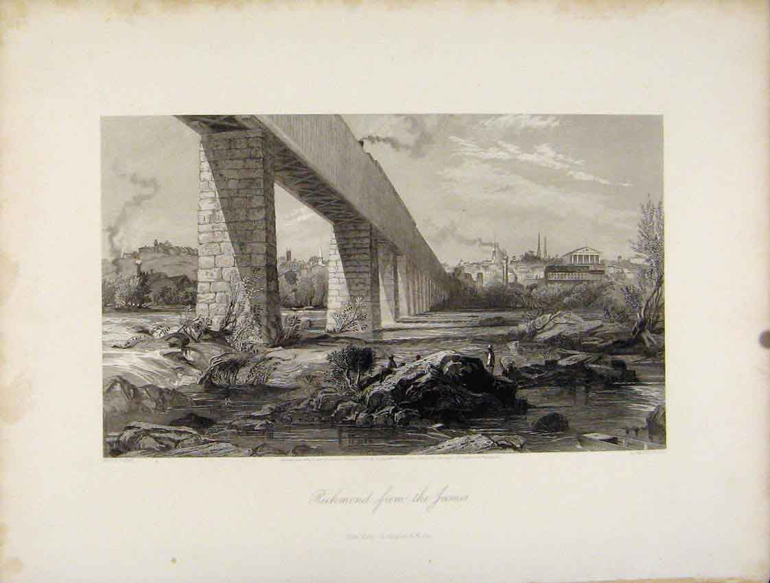 Print Steel Engraving C1872 Richmond James River 367111 Old Original