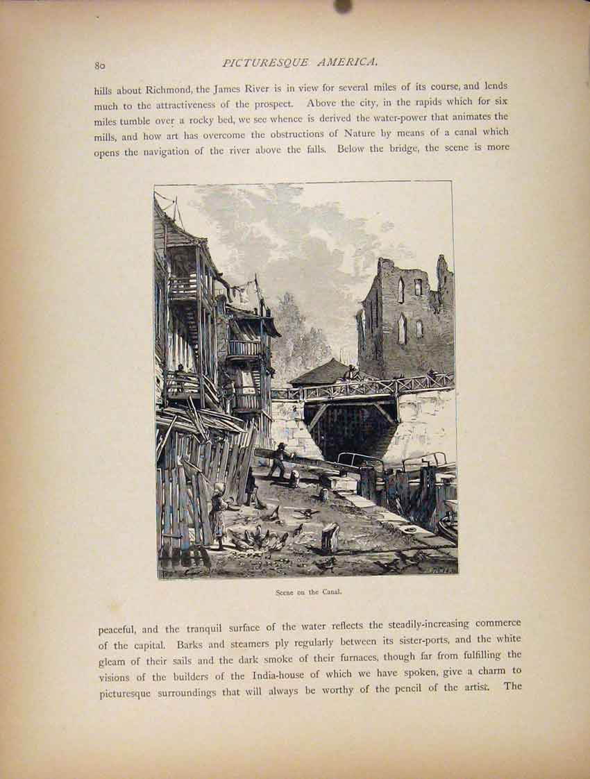 Print Canal James River Wood Engraving Art C1872 40A7111 Old Original