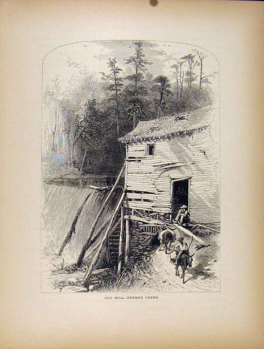 Print Mill Reems Creek Fine Art Water Fall River 727111 Old Original