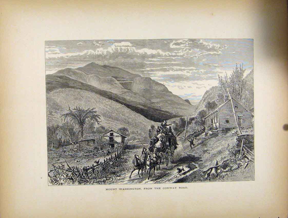 Print Mount Washington Conway Road C1872 777111 Old Original