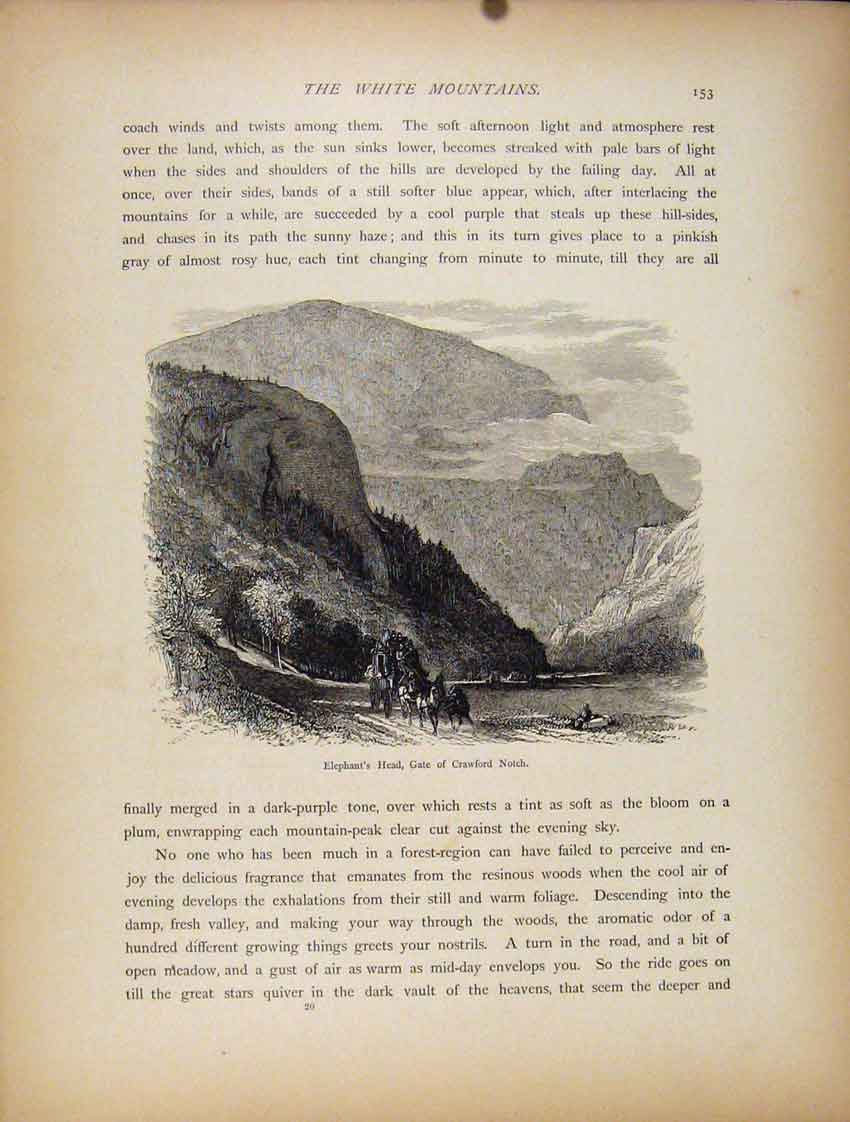 [Print White Mountains Elephant Head Gate Crawford Notch 787111 Old Original]
