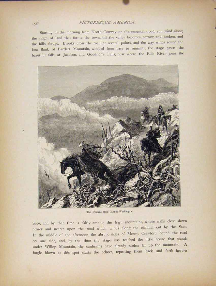 Print Descent Mount Wahsington Wood Engraved Art 807111 Old Original