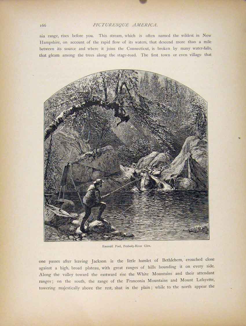 Print Emerald Pool Peabody River Glen C1872 Art 847111 Old Original