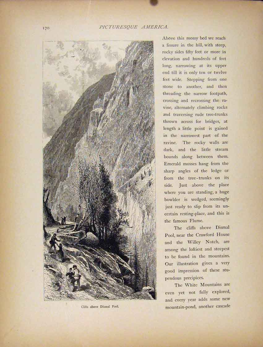 Print Wood Engraving Cliffs Dismal Pool Art 867111 Old Original