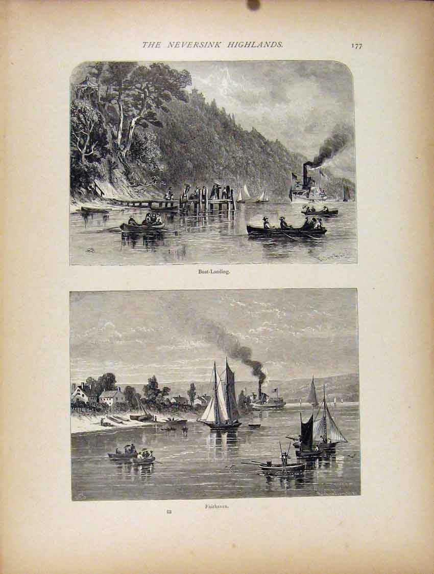 Print Wood Engraving Neversink Highlands 907111 Old Original