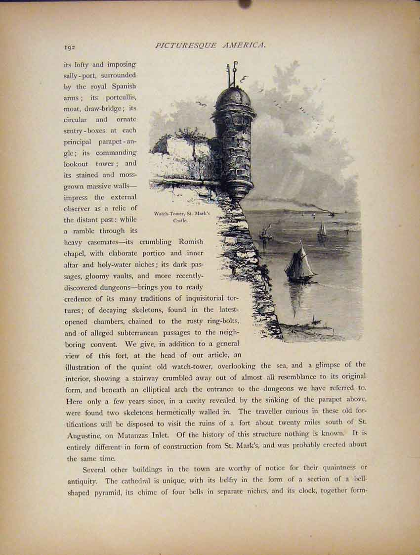 Print Watch Tower St Marks Castle Fine Art 1872 977111 Old Original