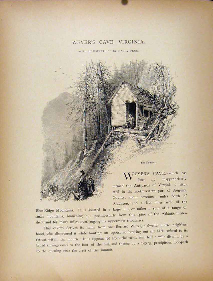 Print Wyers Cave Virginia Entance Engraving Art 077111 Old Original