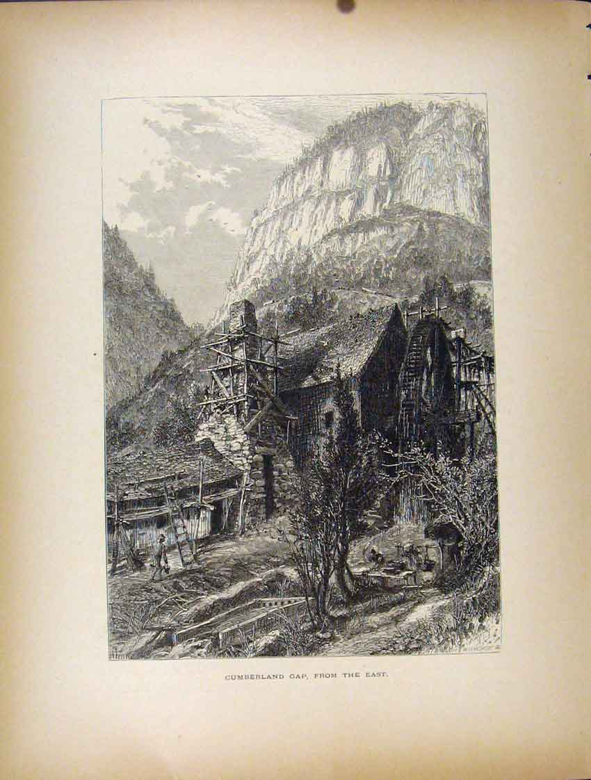 Print Cumberland Gap House Mountain Fine Art C1872 177111 Old Original