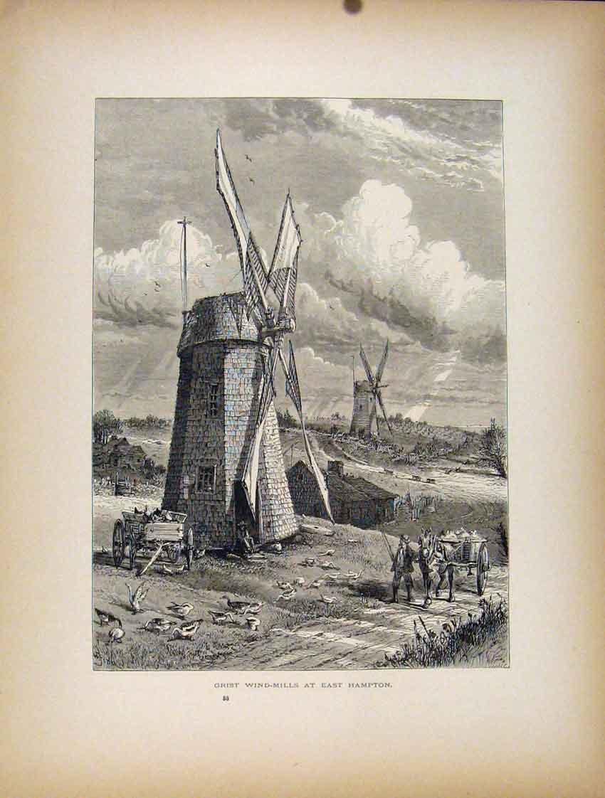 Print Grist Wind Mills East Hampton Fine Art 287111 Old Original