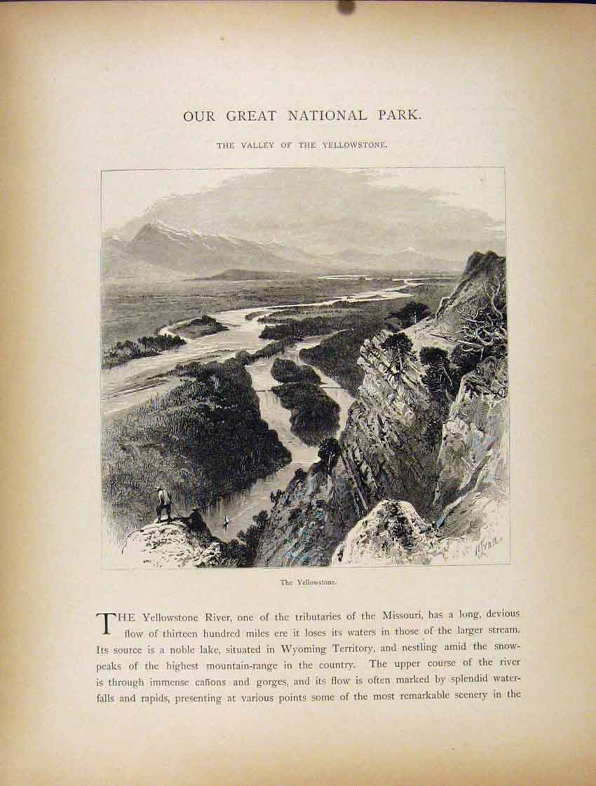 [Print Great National Park Valley Yellowstone 407111 Old Original]