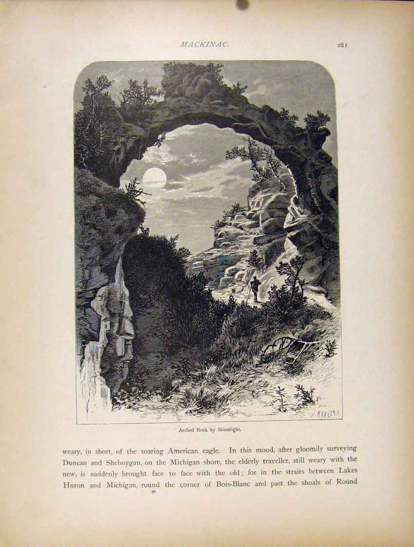 Print Wood Engraving Arched Rock Moonlight 417111 Old Original