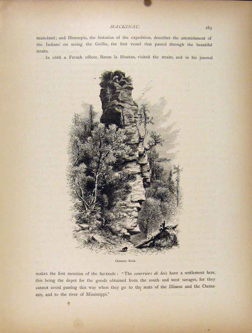 Print Wood Engraving Chimney Rock Fine Art C1872 427111 Old Original