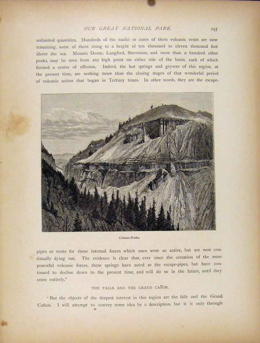 [Print Great National Park Column Rocks Engraved Art 507111 Old Original]