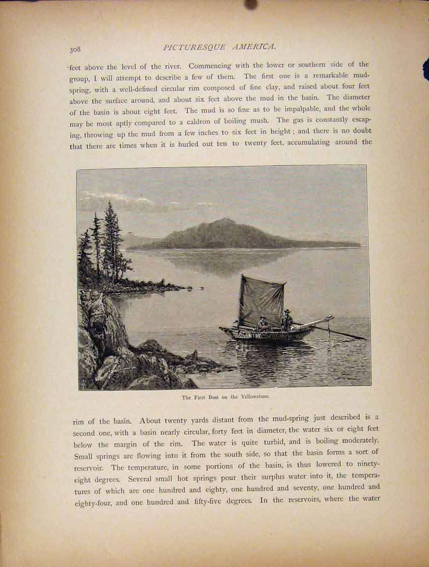 Print First Boat Yellostone Fine Art Engravings 557111 Old Original