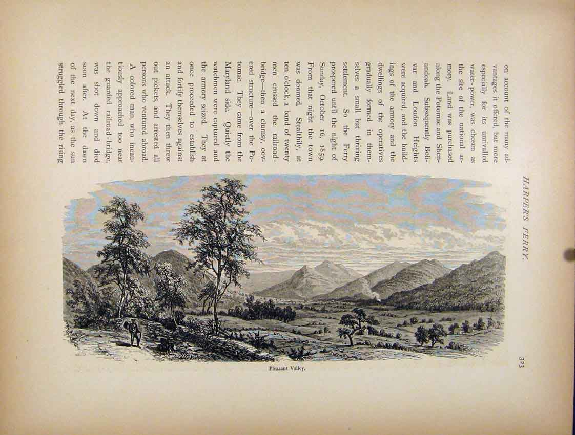 Print Pleasant Valley Harpers Ferry Engraving C1872 627111 Old Original