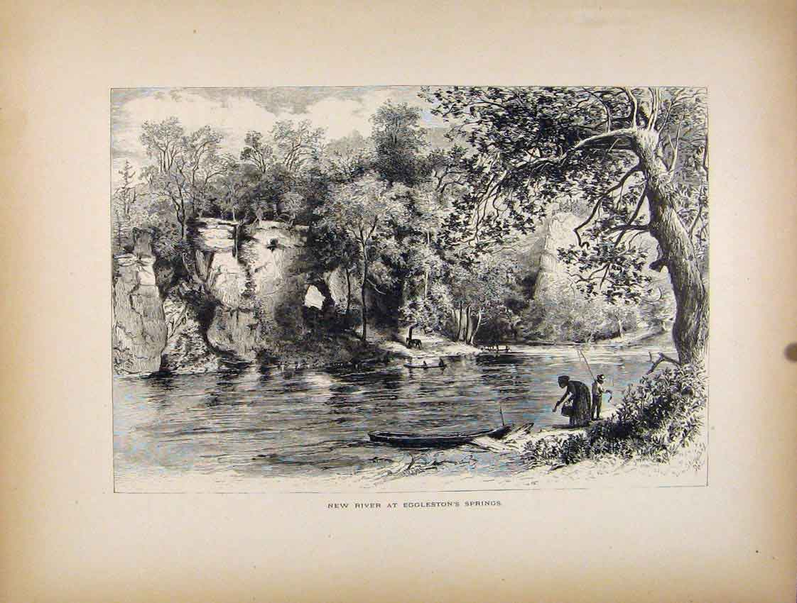 Print New River Egglestons Springs C1872 727111 Old Original