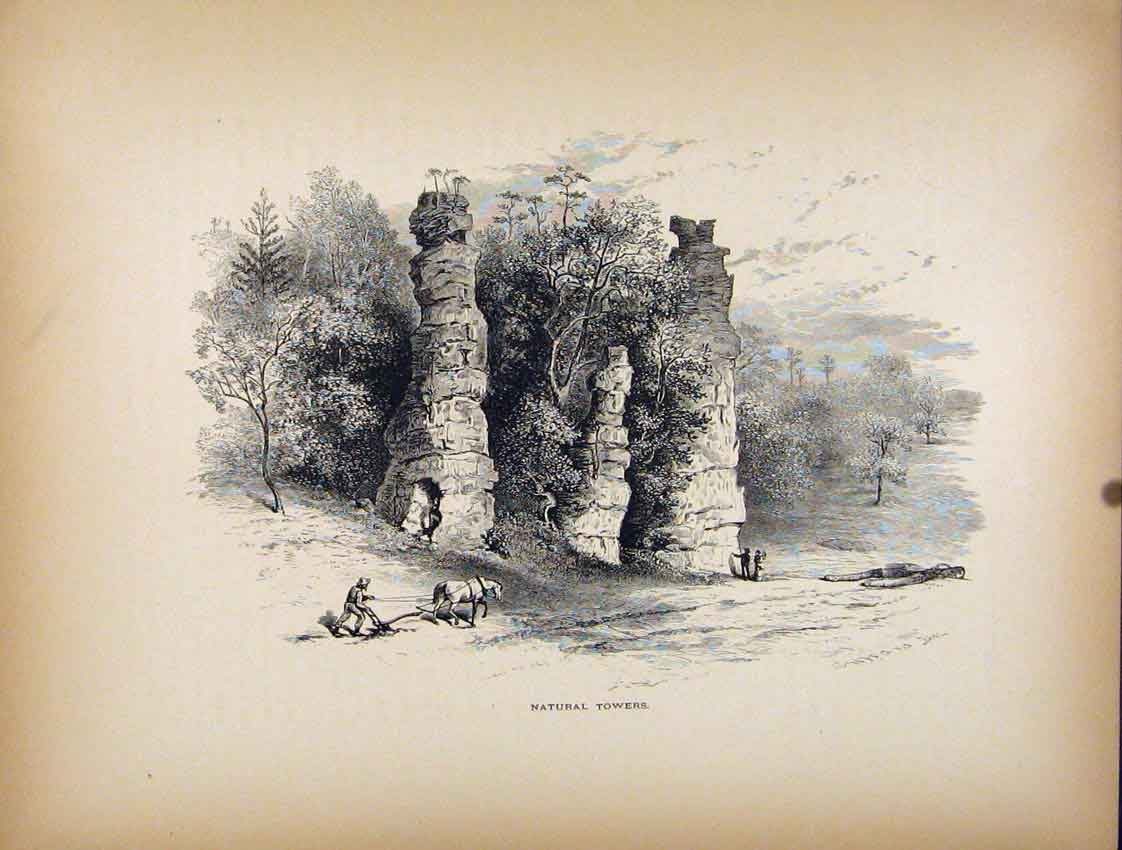 Print Natural Towers Balancing Stones Pillars 757111 Old Original