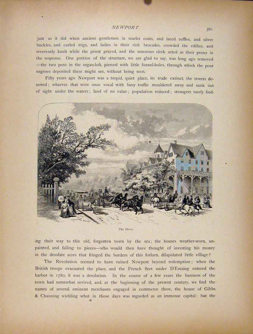 Print C1872 Newport The Drive Wood Engraving 827111 Old Original