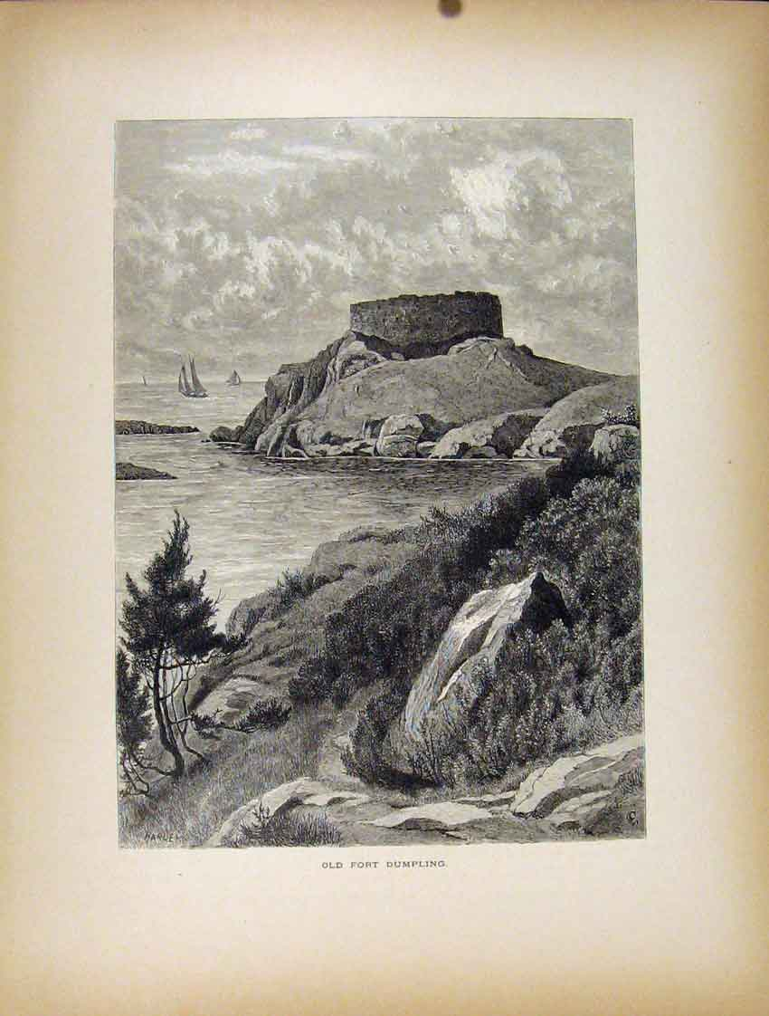 Print Fort Dumpling Sea Side Mountain C1872 847111 Old Original
