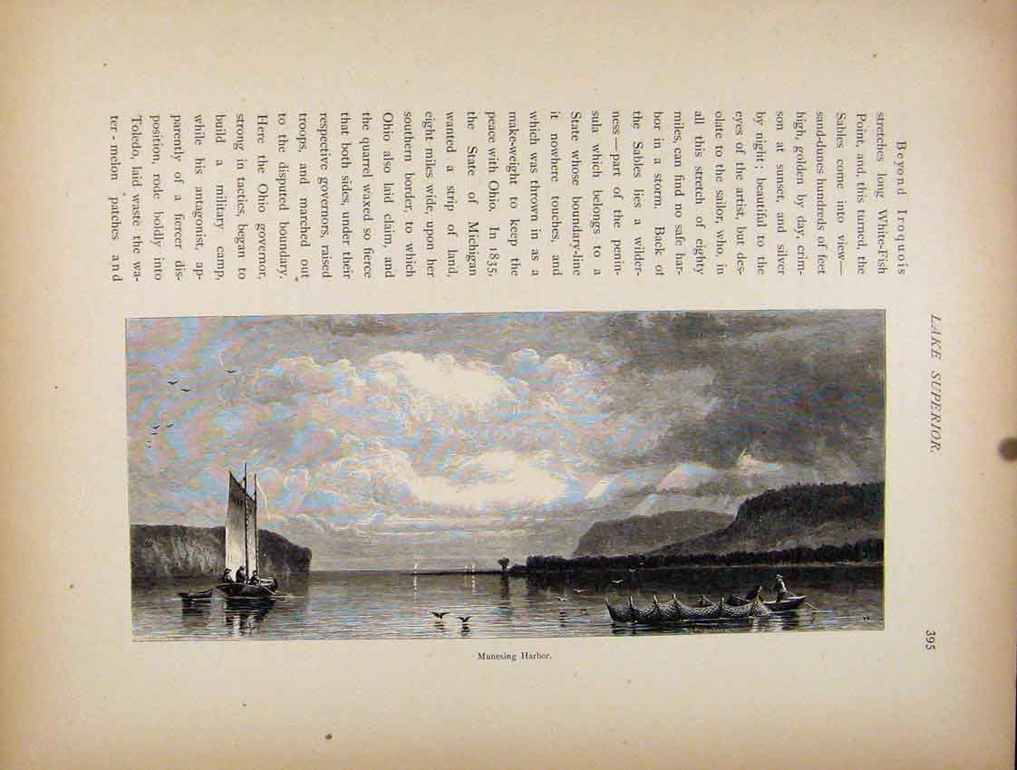Print Wood Engraving C1872 Munesing Harbor Fine Art 987111 Old Original