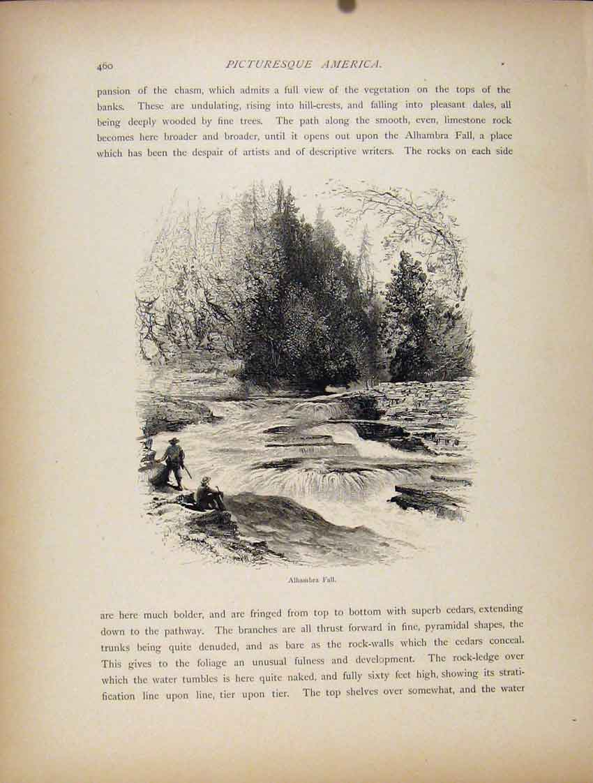 Print C1872 Wood Engraving Alhambra Fall Art 277111 Old Original