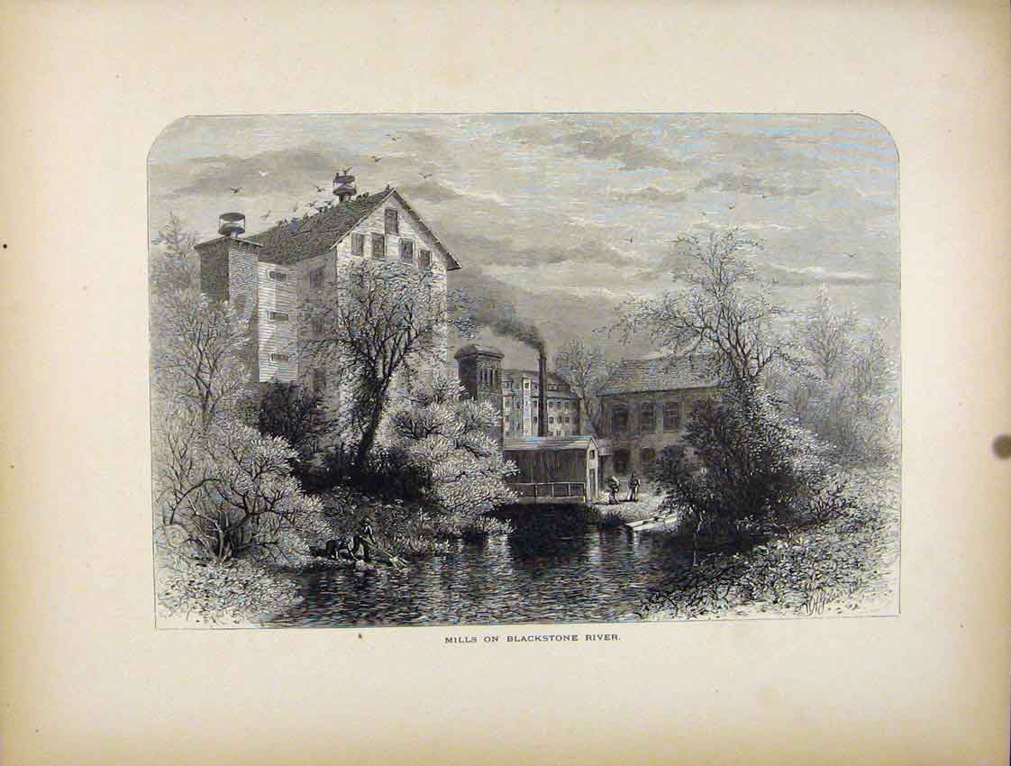 Print Mills Blackstone River Fine Art C1872 397111 Old Original
