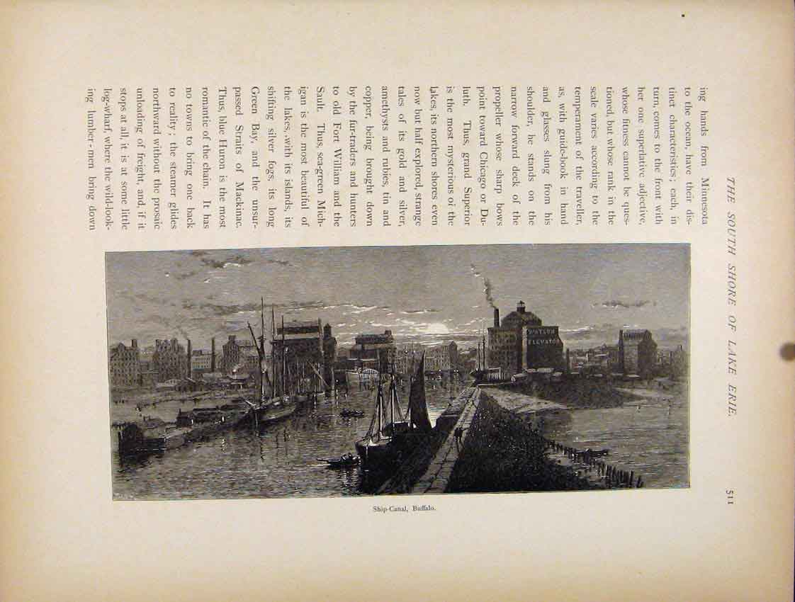 Print Wood Engraving Ship Canal Buffalo C1872 Art 437111 Old Original