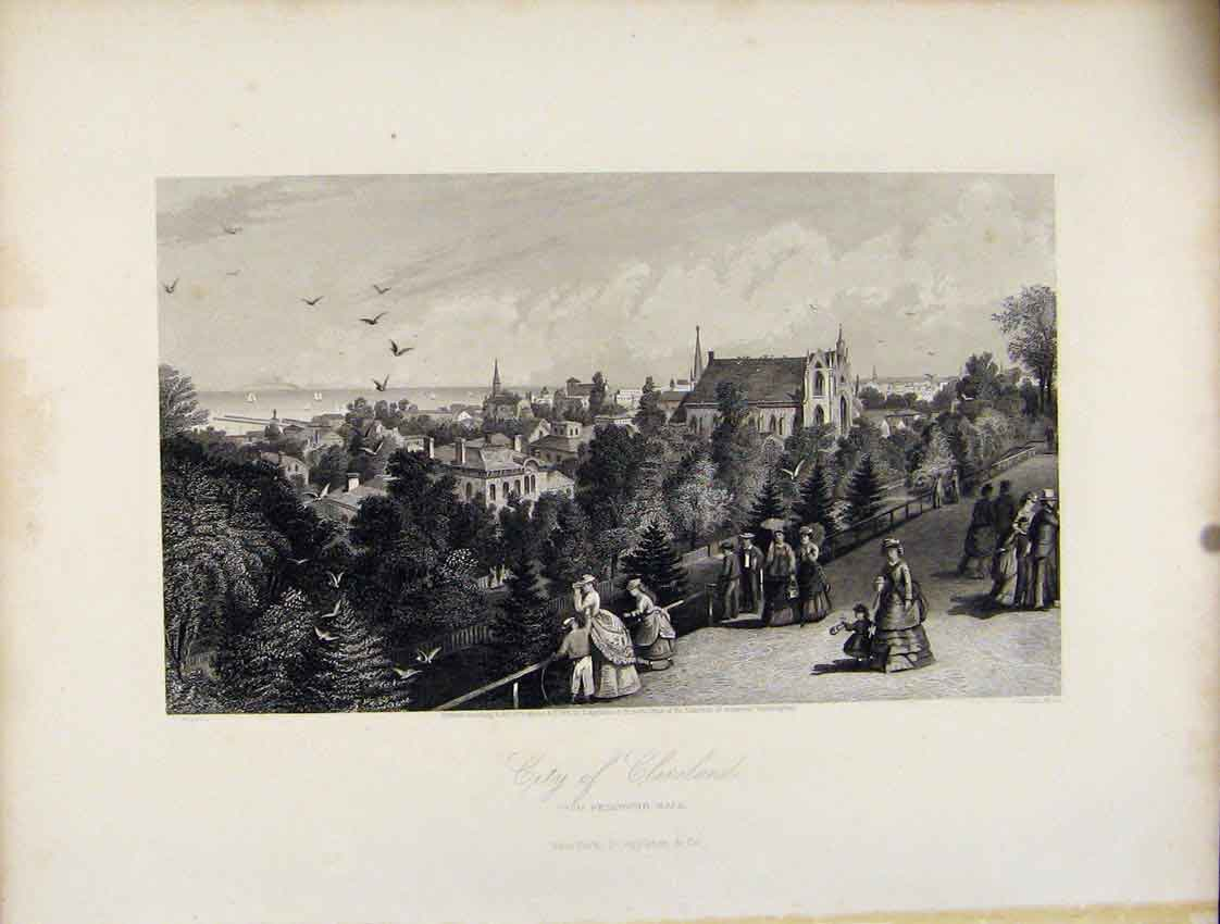 Print City Cleveland Reservoir Walk Fine Art C1872 517111 Old Original