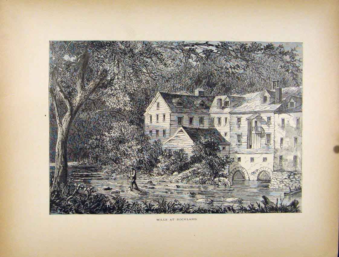 Print Mills Rockland House River Fishing C1872 627111 Old Original