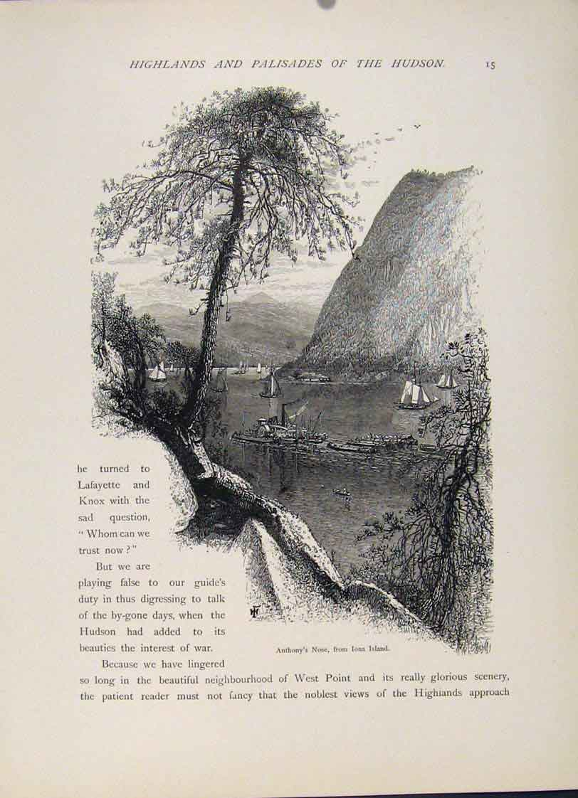 Print Anthony Nose Iona Island Engraving Art C1872 087121 Old Original
