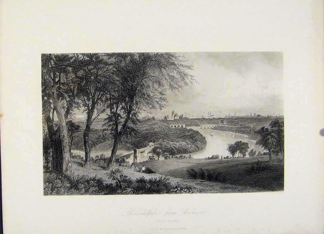 Print Philadelphia Belmont West Park Steel Engraved 227121 Old Original