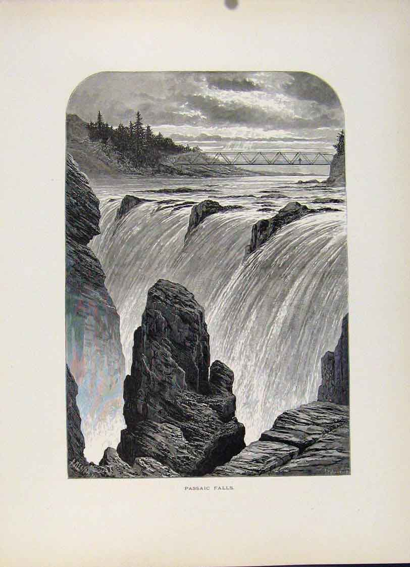 Print Passaic Falls Fine Art Wood Engraving C1872 307121 Old Original