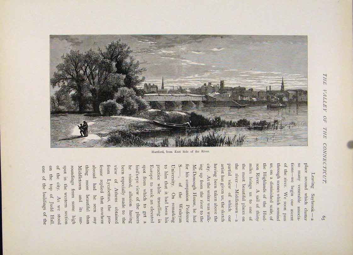 Print Engraving Wood Art Hartford Side River Connecticu 347121 Old Original
